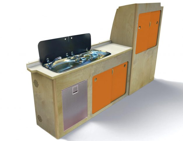 Stand-alone orange kitchen unit for campervan custom made with fridge and storage