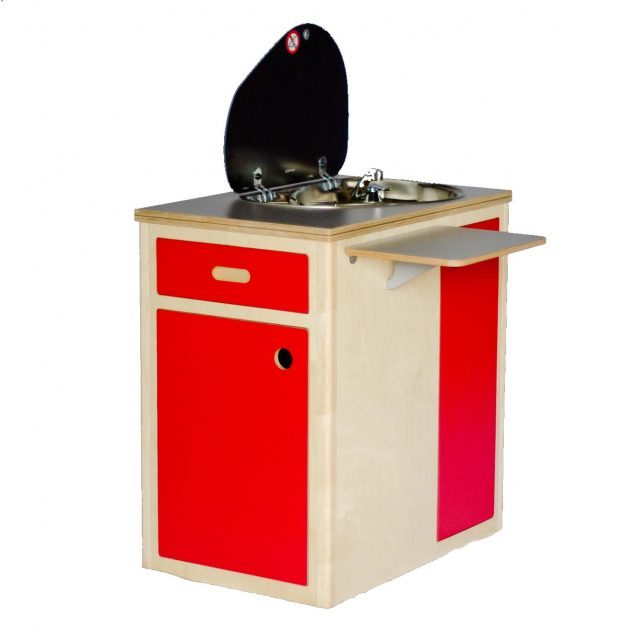 Kitchen sink unit and red plywood cupboard custom design