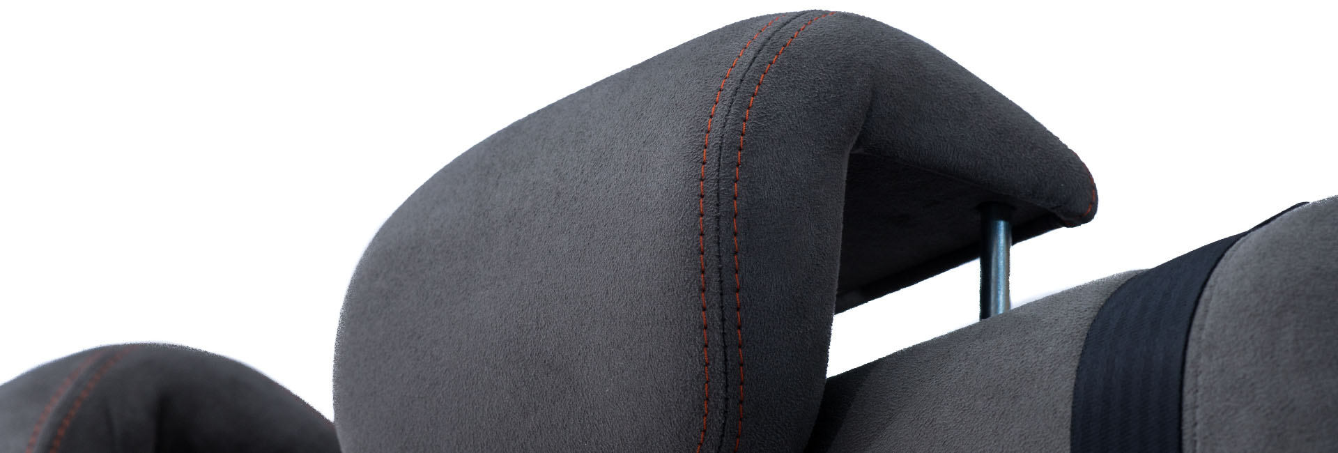 rock and roll bed headrest with orange stitching