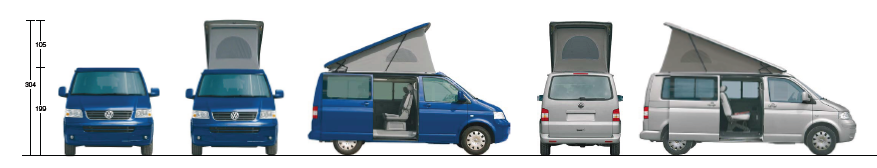 VW campervan with SCA elevated roof