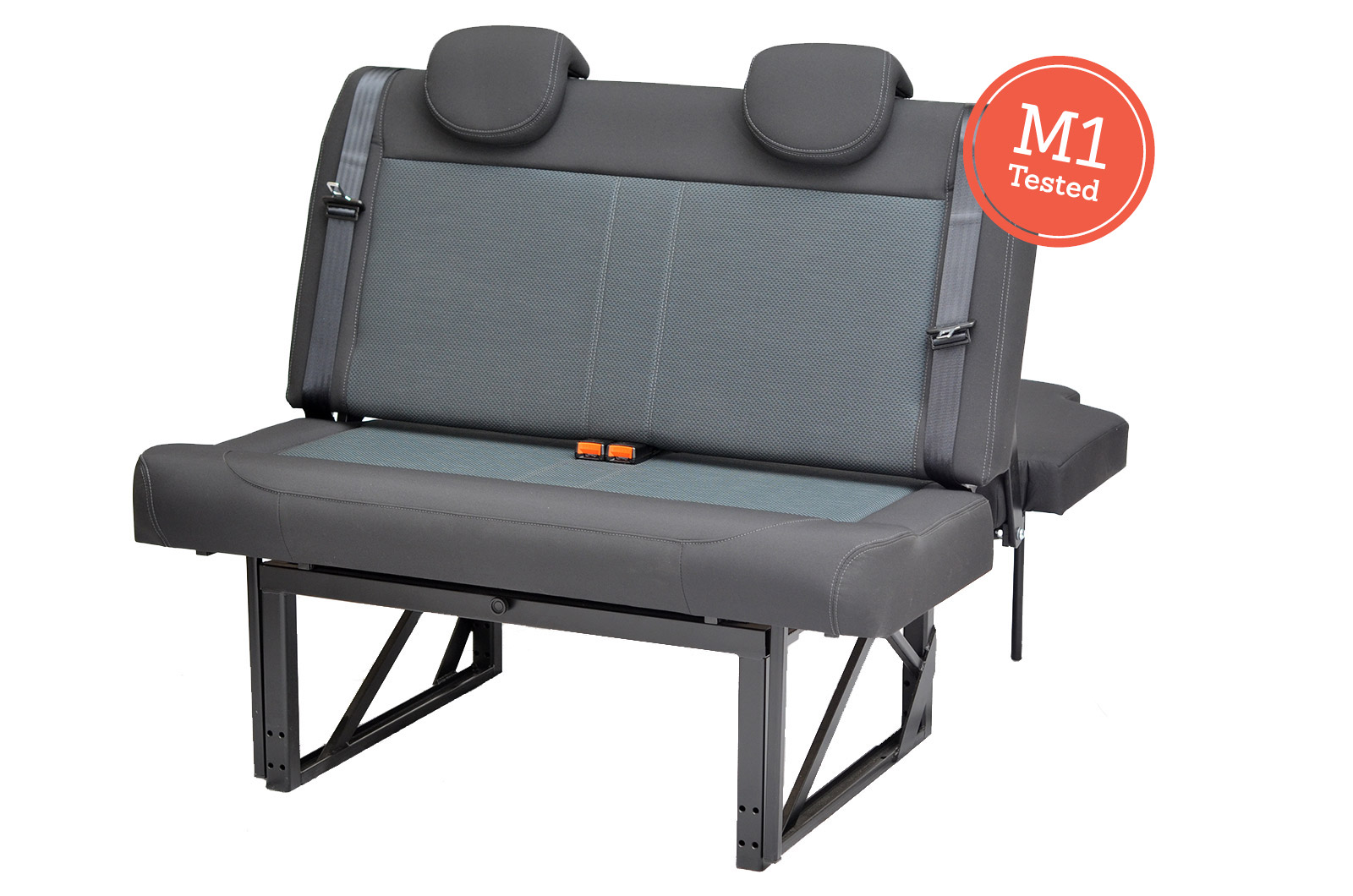 R&R Bed stowed away with M1 Rated badge with two seats