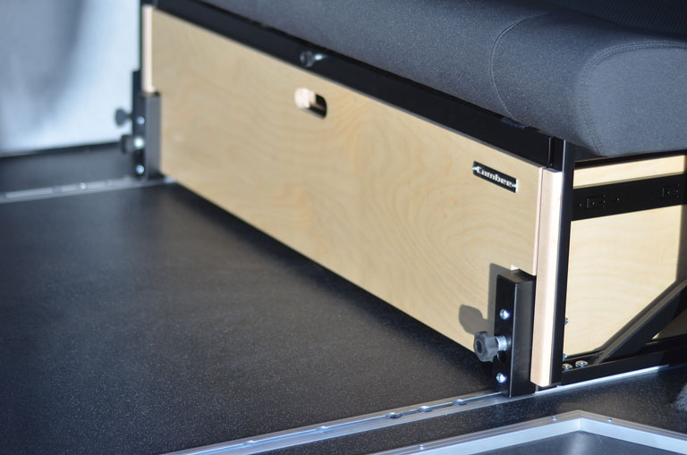 Close up of rock and roll bed storage for campervan