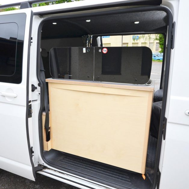 Back of Maxi Pod removable kitchen in campervan with twin sliding doors
