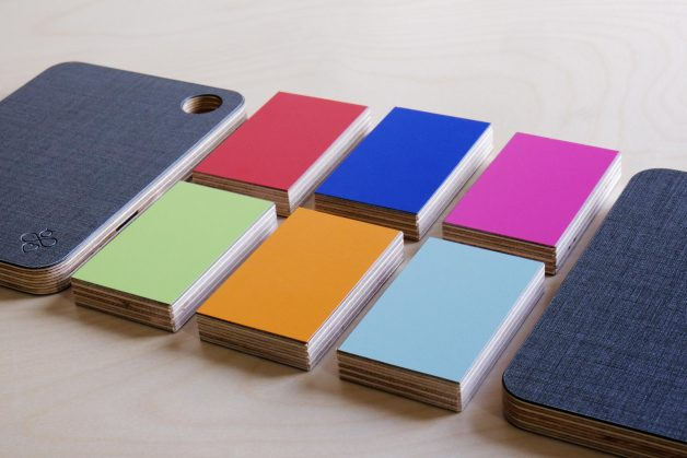 Close up of colour testers and Cambee cutting board