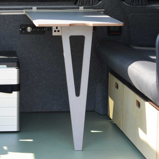 Sliding plywood table interior kitchen design for custom van conversion