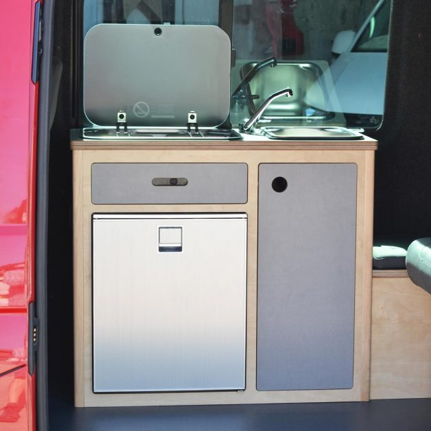 All the drawers and doors closed on a campervan with Fixed Maxi Pod