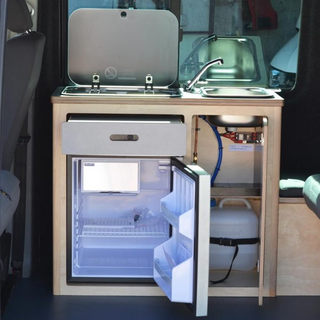 All the drawers and doors open on a campervan with Fixed Maxi Pod fridge bespoke conversion, custom conversion