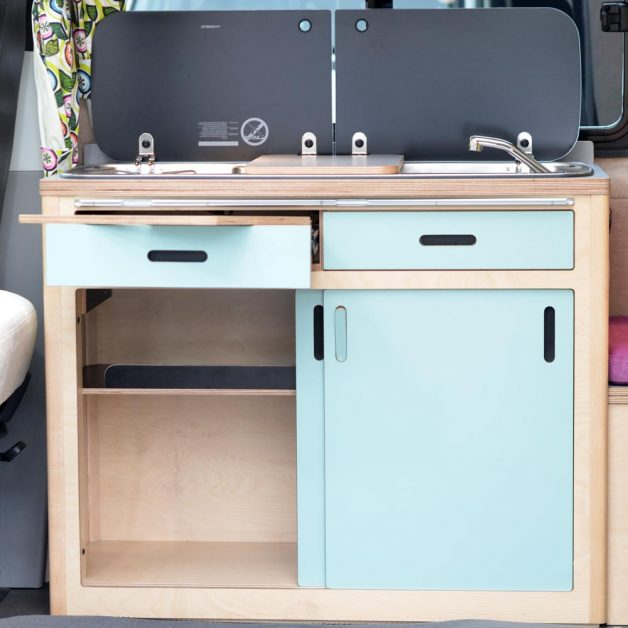 Maxi Pod with doors and drawer open showing storage space