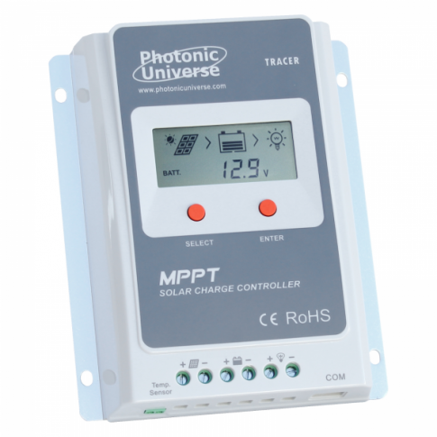 Photonic Universe 30A MPPT solar charge controller/regulator with built in LCD display for solar panels up to 390W