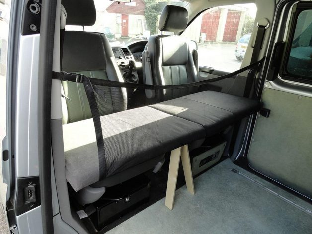 Campervan child bunk shown with single passenger seat