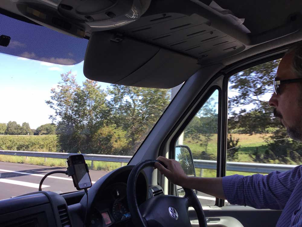 Cambee Director Matthew driving his VW Van through France